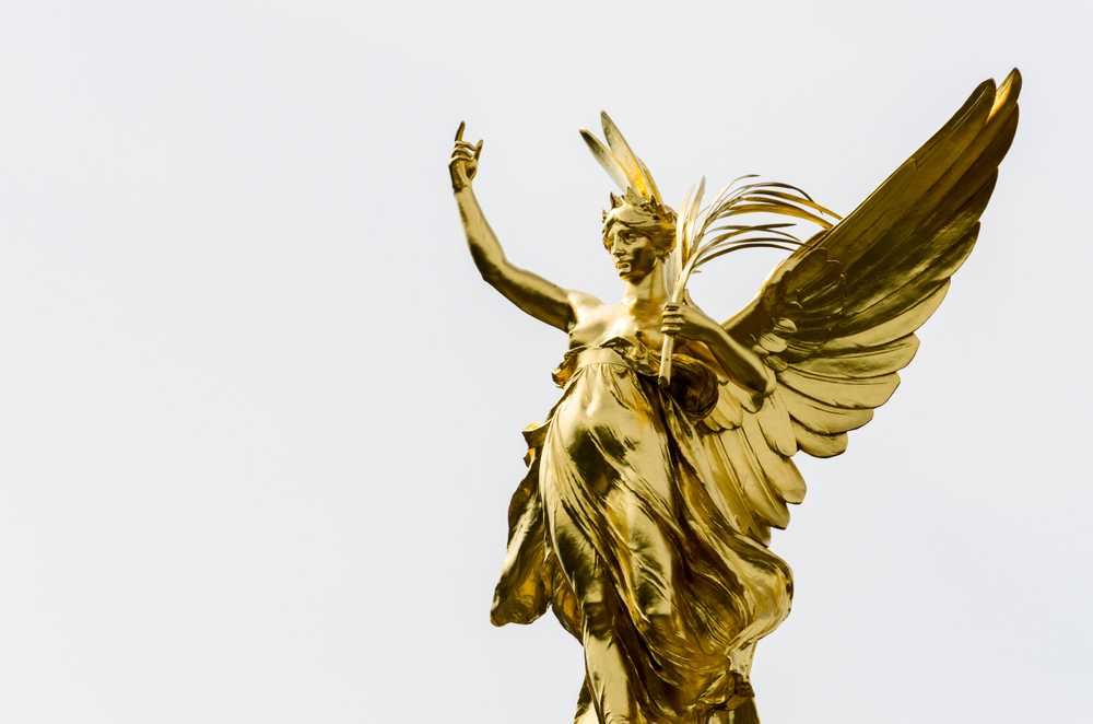 gold female angel statue