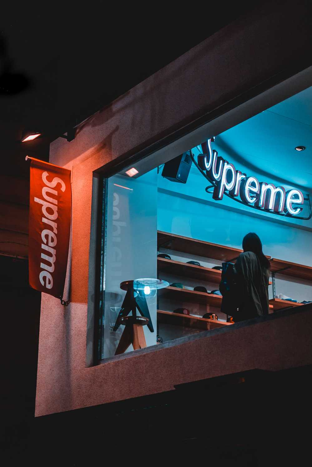 red and white Supreme signage