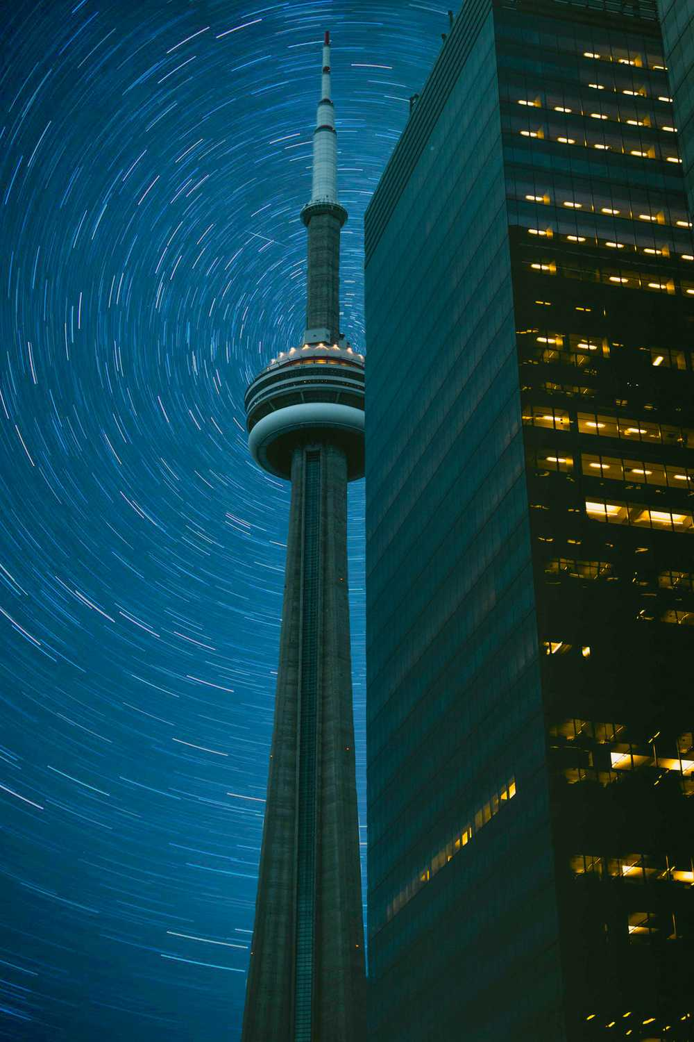 CN Tower in time-lapse photography