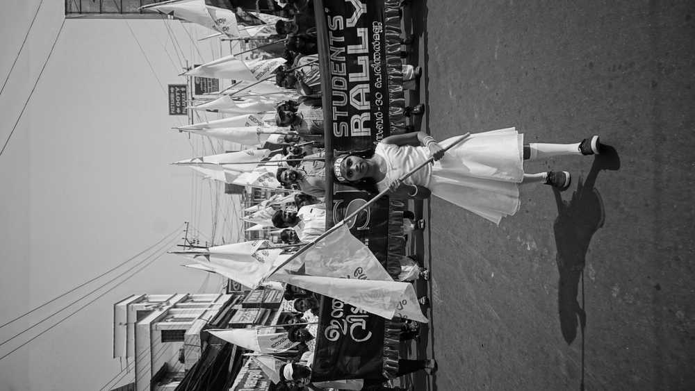 grayscale photography of girl holding banner while walking on street near crowd of people