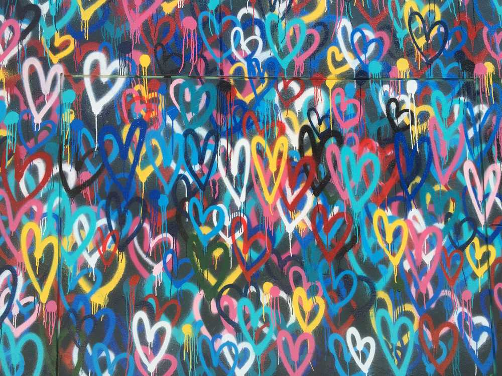 multicolored heart wallpaper