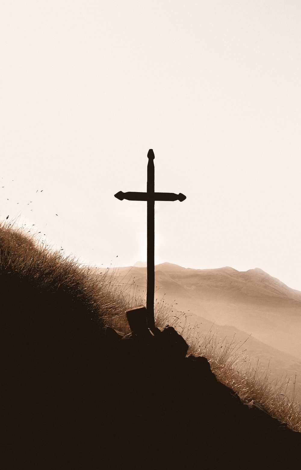 brown wooden cross on mountain during daytime
