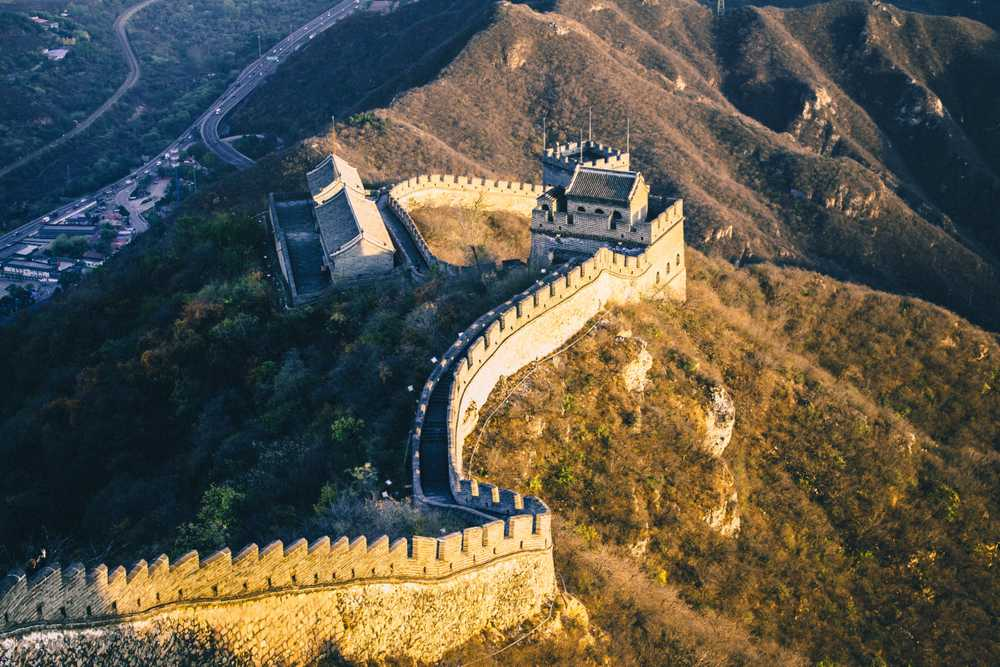 Great Wall of China in aerial view