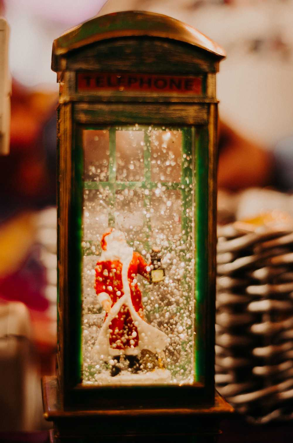 Santa Claus on the telephone booth table decor