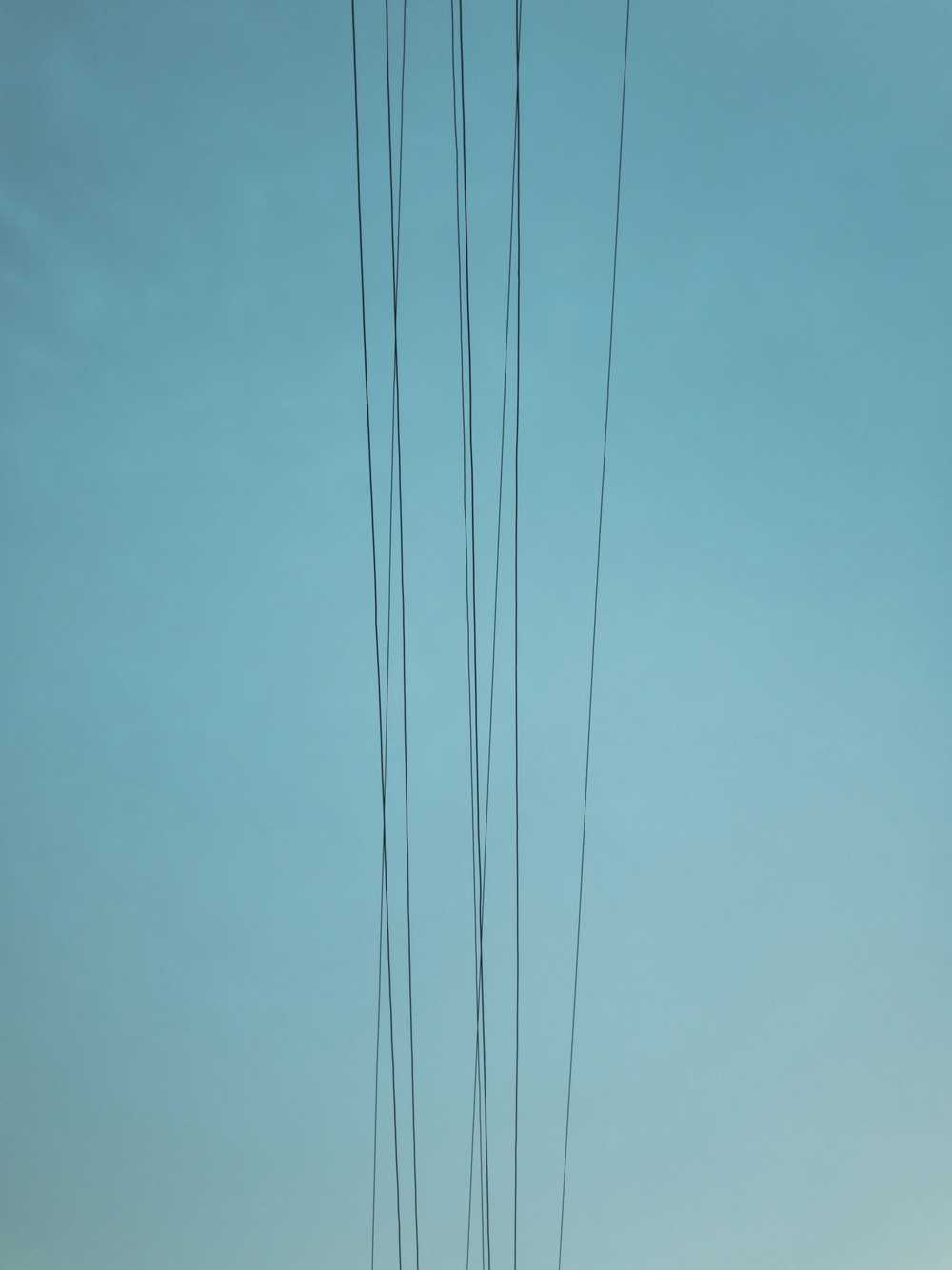 several cables under clear green sky