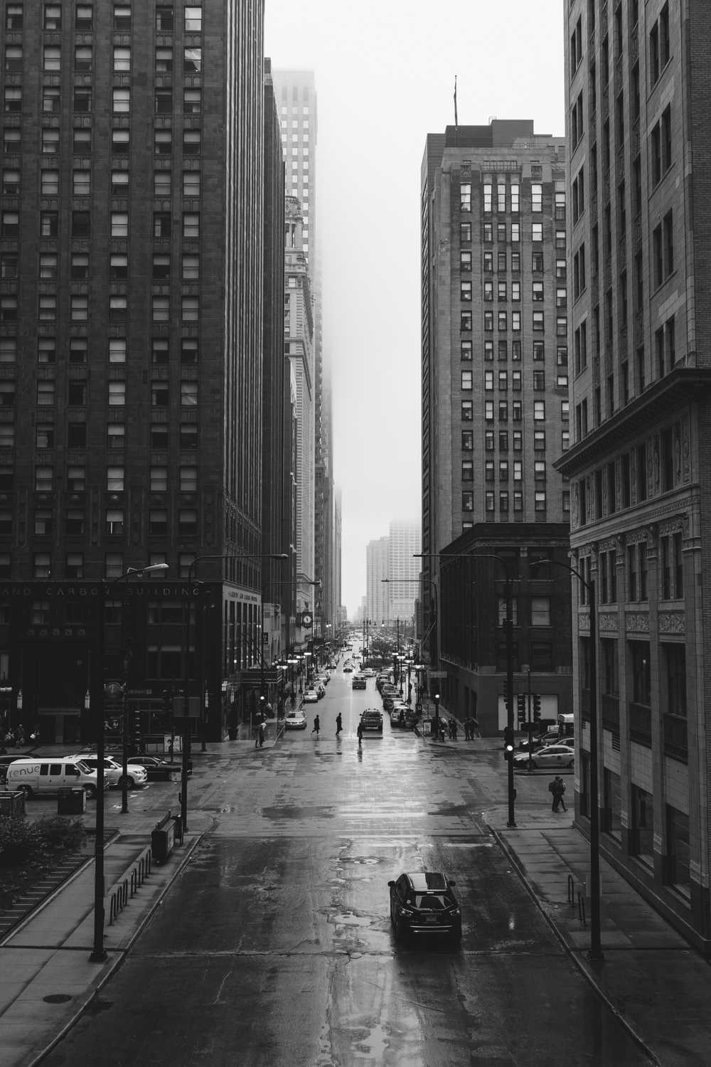grayscale photo of city street